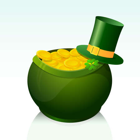 Golden pot as symbol for Saint Patricks Day Vector