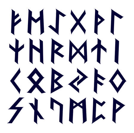 Ancient Celtic runes complete alphabet set
