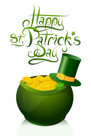 Saint Patricks Day greeting card design with leprechaun golden pot as Holiday symbol Vector