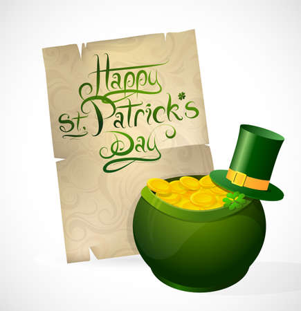 Saint Patricks Day card with greeting and treasure pot Vector
