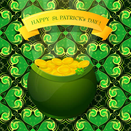 saint patrick: Saint Patrick Day greeting card elements with banner