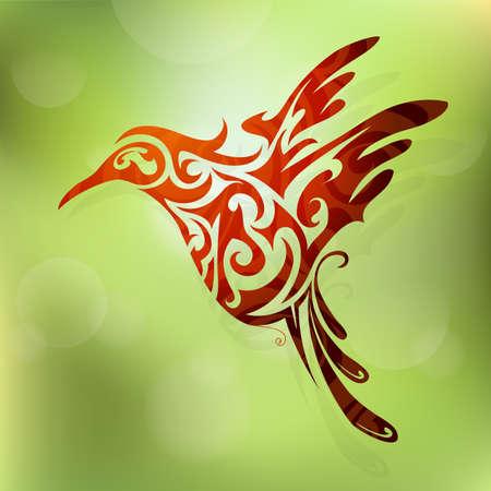 Vector illustration pour voler forme abstraite colibri