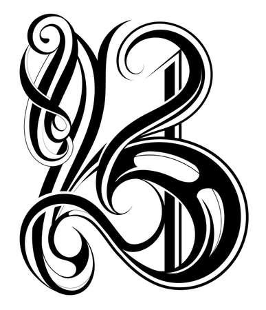 letras negras: Ilustración del vector con diseño de letra capital. Fuente B
