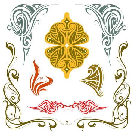 Art nouveau style design elements set isolated on white