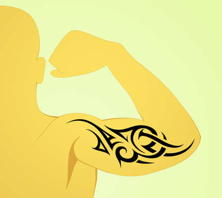 triceps: Tribal arm tattoo pattern on male body