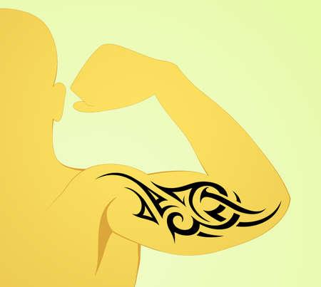 bicep curls: Tribal arm tattoo pattern on male body