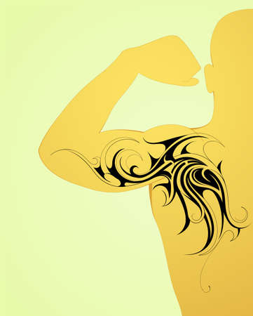 body art: Maori body art tattoo on arm and back Illustration