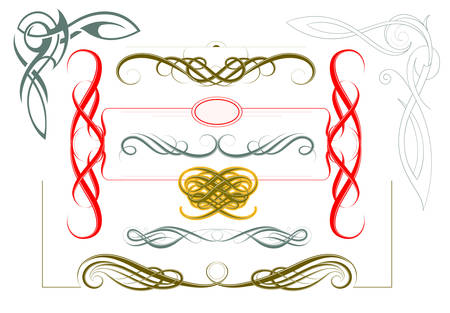 ornamental scroll: Set of classic page borders with vintage calligraphy ornaments
