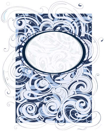Water and wind swirls ornament with copy space frame Vector
