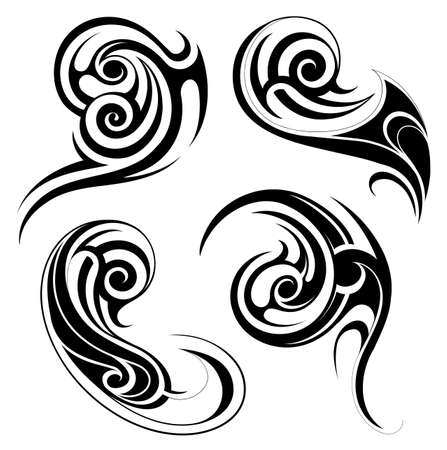 polynesian: Vector illustration with set of tribal tattoo shapes