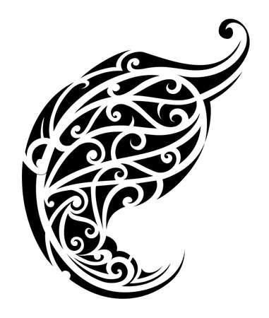 maori: Tribal art tattoo isolated on white. Maori origin Illustration