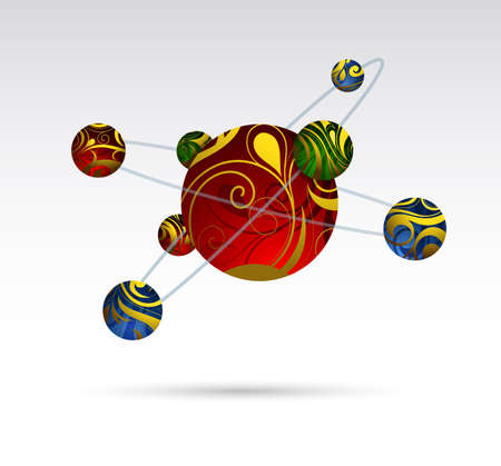 protons: Atom with orbiting decorative protons as chemistry symbol.