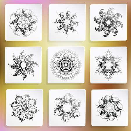 maories: Ilustración vectorial con el conjunto de ornamentos de círculo. Vectores