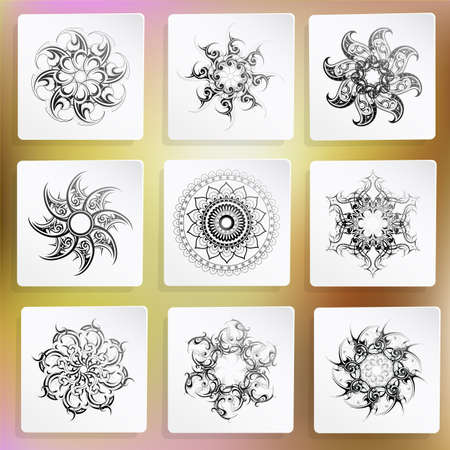 star tattoo design: Vector illustration with set of of circle ornaments.