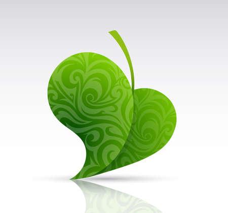 leaf shape: Ornamental leaf shape as graphic design element. EPS-10 Illustration