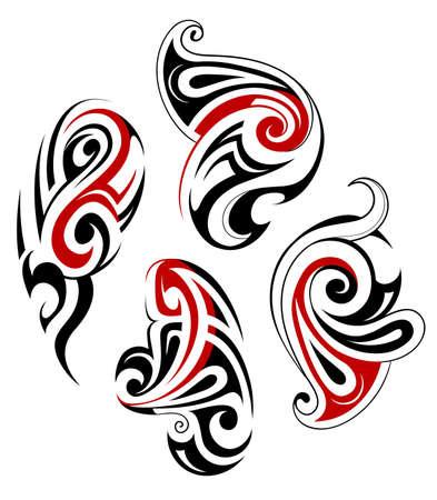 maories: Art�stico �tnica maor� tatuaje tribal conjunto forma