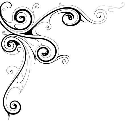Elegant frame border with floral swirls Vettoriali
