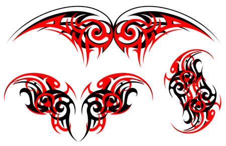 origin: Vector illustration with ethnic tattoo set. Gothic origin