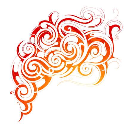 fuoco e fiamme: Vector illustration with fire flames and smoke ornament Vettoriali