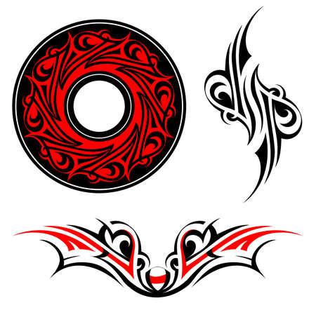 Gothic style: Gothic style tattoo and ethnic ornaments set Illustration