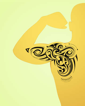 arm tattoo: Maori body art tattoo on arm and back Illustration