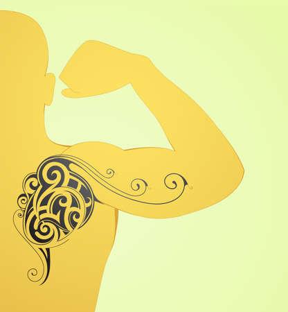 bicep curls: Maori body art tattoo on arm and back Illustration