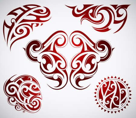 polynesian: Vector illustration of Maori origin tattoo shapes
