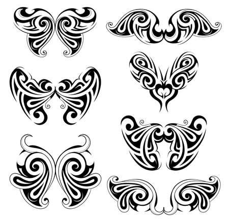 tatouage ange: Diverses formes d'ailes pour les emblèmes et le body art utilisation de tatouage Illustration