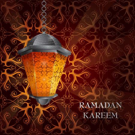 ramazan: Ramadan greeting card design with arabic lantern Illustration