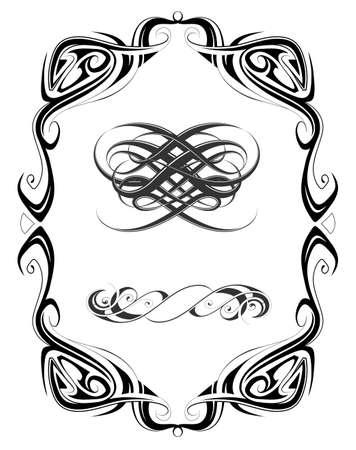 jugendstil: Retro style frame page with design elements inside