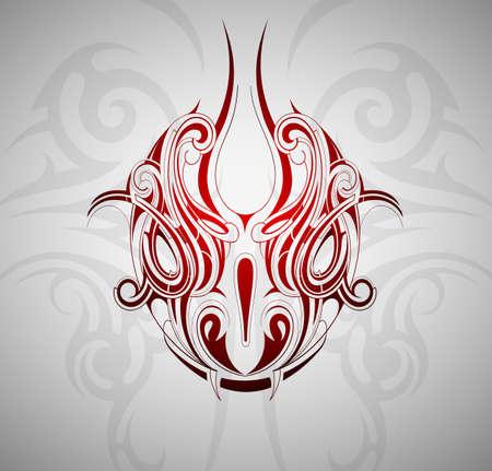 怪獣蛇頭タトゥー装飾的な背景を持つ図形  イラスト・ベクター素材
