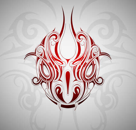 tribal dragon: Monster snake head tattoo shape with decorative backdrop