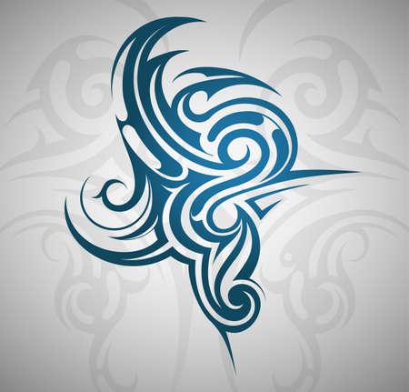 splash de agua: Water splash tatuaje emblema con telón de fondo decorativo