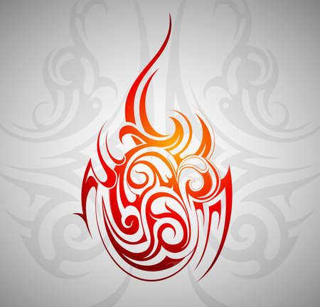 Fire flame tattoo ornament with decorative backdrop