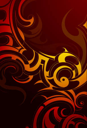 orange inferno: Decorative backdrop with fire flames and smoke swirls