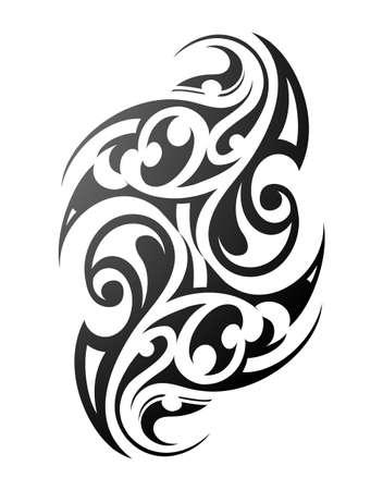 Tatuaje maorí. Ornamento étnico con motivos polinesios tradicionales Ilustración de vector