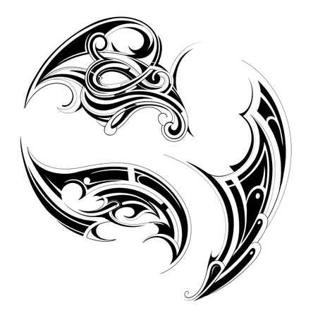 Gothic en Maory stijl tattoo set geïsoleerd op wit Stock Illustratie