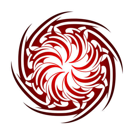 celtic art: Tribal tattoo circle shape isolated on white