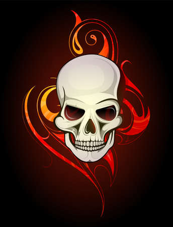 Skull tattoo with tribal flame ornament on backdrop Illustration
