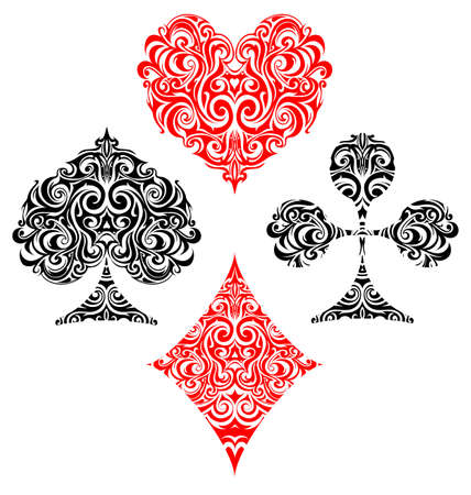 red swirl: Vector illustration with set of gaming cards suit design