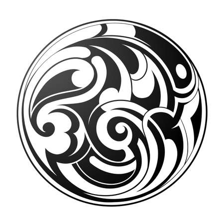 wave crest: Vector illustration with round tribal art tattoo. Maori origin Illustration