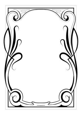 art nouveau frame: Vintage style decorative frame with floral elements Illustration