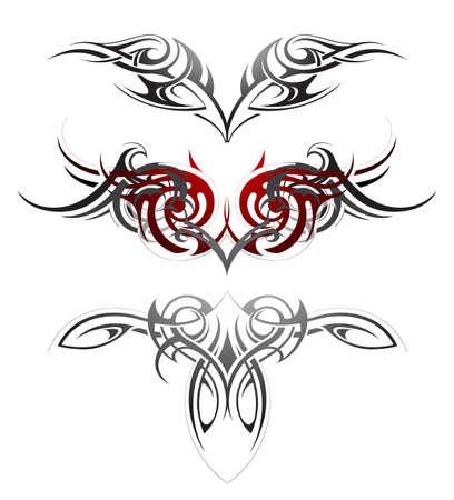 tribales: Ilustración del vector con el conjunto de las alas del arte del tatuaje del cuerpo