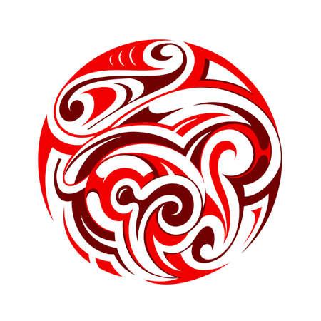the origin: Vector illustration with round ethnic ornament. Maori origin