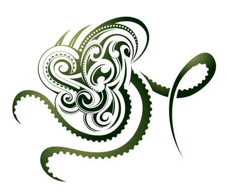 polynesian: Octopus shape as decorative Maori tattoo isolated on white Illustration