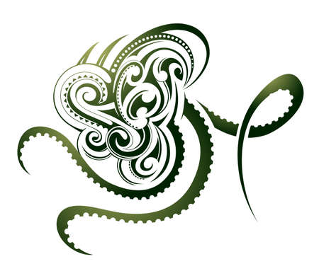 Octopus shape as decorative Maori tattoo isolated on white Illustration