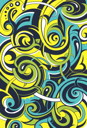 water wave: Graffiti style elegant background with floral swirls