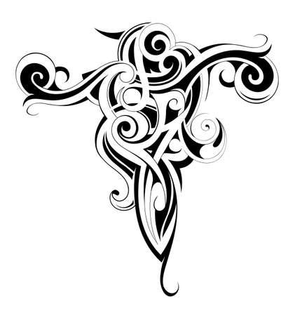 shoulders: Cuerpo arte del tatuaje de tinta con elementos �tnicos maor�es