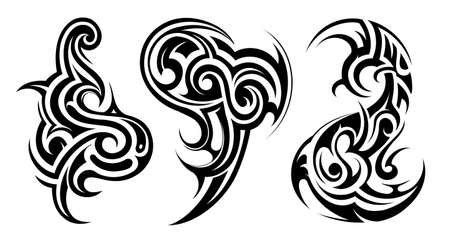 Vector illustration for tribal art tattoo isolated on white Illustration