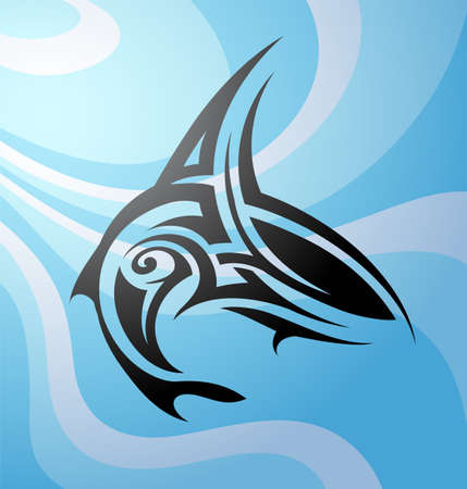 Vector illustration with Maori style tattoo shark